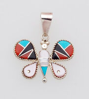 Zuni Handmade Sterling Silver Butterfly Pendant with Multi-Stone Inlay