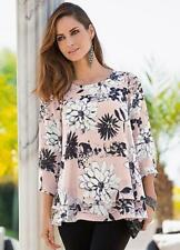 Together Pretty Blush Floral Layered Top With 3/4 Sleeves Size 8 (r14)
