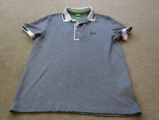 Men's Hugo Boss Grey Poplo Shirt with White & Navy Collar/Cuff Trim - Size Small