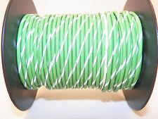 100 FOOT SPOOL 16 GAUGE GXL HI TEMP WIRE LT GREEN/WHITE STRIPE AUTOMOTIVE   FEET