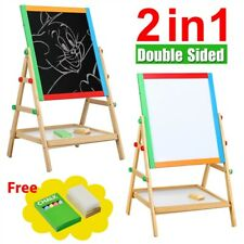 Wooden 2 in 1 Kids Easel Chalk Drawing Board Blackboard and Whiteboard Children