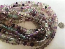 """16"""" Strand 4mm Natural RAINBOW FLUORITE Gemstone Beads"""