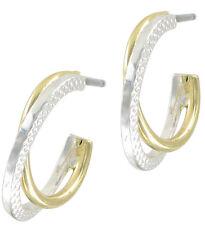 """Pierced Earrings Hoop Silver Tone Gold Twist 1/2"""""""