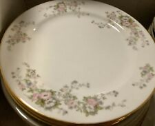 """Rose China Occupied Japan 3 Japanese Roses 10"""" Gold-trimmed Dinner Plates"""