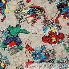 BonEful Fabric FQ Cotton Quilt VTG Super Hero Hulk Spiderman Marvel Boy America