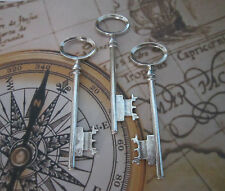 3 x steampunk antique silver skeleton keys wedding vintage pendants charms fancy
