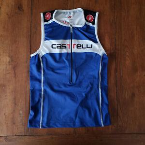 Castelli Mens Small Triathlon Tank Top Jersey Blue White Core S