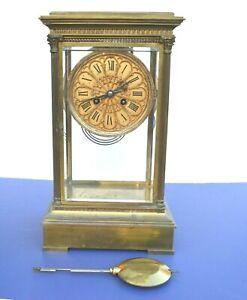 RARE ANTIQUE FRENCH CRYSTAL REGULATOR BRONZE CLOCK FOR GALT & BROS WASHINGTON DC
