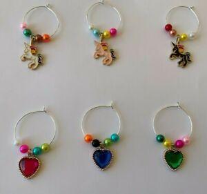 Set of 6 Wine Glass Charms Unicorns & Love Hearts Hand Beaded 6 colours