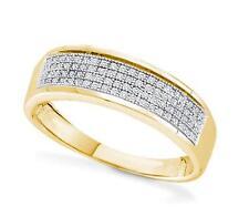 Hombres Micropavé Anillo de Diamantes 10k Oro Blanco Amarillo Alianza con .15ct