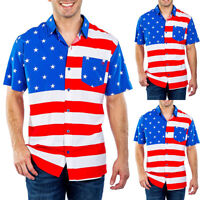 Mens Flag Printed Short Sleeve Shirt Striped Holiday Beach Fit Tops Tee T Shirts
