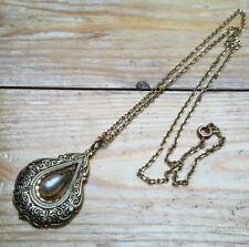 Vintage Gold Tone Damascene Toledo Wear Necklace/Retro 60's/Kitsch/Faux Pearl