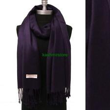 NEW Women Soft PASHMINA Cashmere SILK Classic Solid Shawl Scarf Egg plant #707