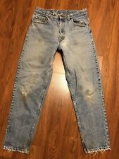 Mens Vtg Levi's 550 XX Distressed Destroyed Stain Work Tapered Jeans 33x30 USA