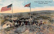 Alaska postcard White Pass Summit Under Two Flags U.S. & British Flag
