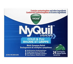 Vicks NyQuil Cold & Flu Liquid Capsules (24 Liquid Caps) FROM CANADA