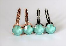 Mint Green Leverback Earrings with Swaroski Crystal Elements Choose Your Finish