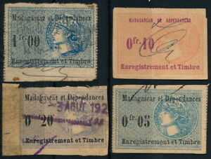 MADAGASCAR, FRENCH COLONY, SCARCE USED LOT OF 4 DIFF. VAL. REVENUE STAMPS #K288