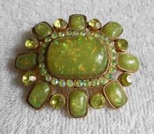 Vintage Open Back Confetti Glass Green Peridot Rhinestones Brooch Gold Tone