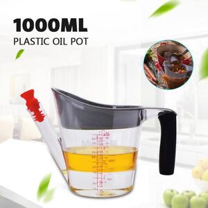 1 litre 4 Oil Pot pump Cook Gravy Fat Separator Cup Dispenser With Strainer