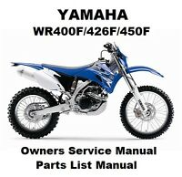 YAMAHA WR450F 400F 426F Owners Workshop Service Repair Parts Manual PDF on CD-R
