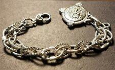 JUDITH RIPKA Heavy Sterling Silver Bracelet w/CZ Enchanced Roman Soldier Charm
