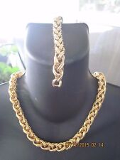 STUNNING MONET HIGH END RUNWAY GOLD BOLD BRAIDED NECKLACE & BRACELET SET 8003