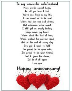 Romantic wedding anniversary Card for husband, wife, partner gift  love