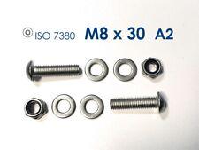 10 Stück Halbrundkopfschraube M8x30 Edelstahl A2 + Mutter M8 A2 + 2x U-Scheibe