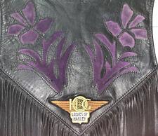 Vintage Kerr Leather Ladies Vest Purple Floral Inset Front & Back Ladies Harley