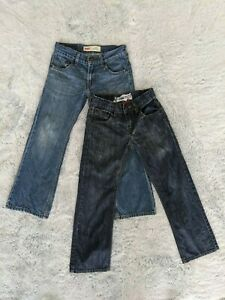 2 Levis Size 8 Regular Boys Denim Blue Jeans 527 Bootcut & Denizen Slim Straight