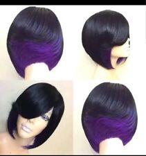 "Fashion Fabulous Synthetic Straight Hair Bob Wigs 10"" color: Black/Purple  New"