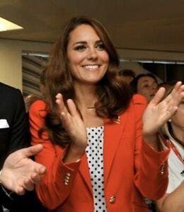 ZARA Red Puff Shoulder Blazer Jacket Rare ASO Royal Sold Out Kate Size LARGE L