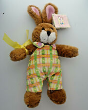 "11"" plush Jelly Bean Easter Bunny in pastel overalls with tag still attached"