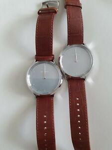 Garmin Vivomove HR Premium Hybrid Smartwatch Silver and Brown Leather