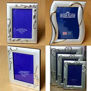 Silver Plated Photo Frame Heart Floral Design Portrait Satin Picture Gift Desk
