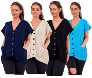 New Plus Size Women Moss Knitted Waistcoat Pockets Sleeveless Buttons Cardigan