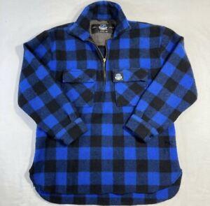 SWANNDRI Mens Ranger Wool Bushshirt Zip Front Blue/Black Check Size L