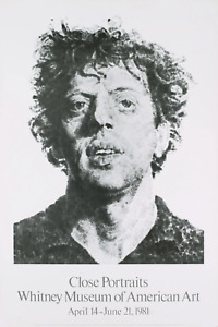 CHUCK CLOSE Large Phil Fingerprint 38.5 x 26 Poster 1981 Realism Black & White M