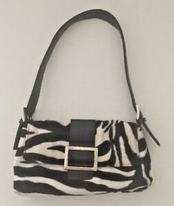 Bebe Zebra Striped Fur Clutch with Silver Buckle and Black Strap Small