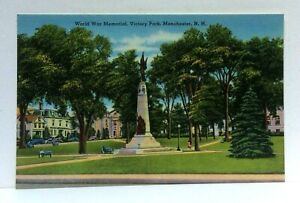 Manchester New Hampshire Victory Park World War Memorial Linen Vintage Postcard