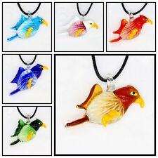 6 Pcs Women's bird lampwork Murano art glass beaded pendant necklace