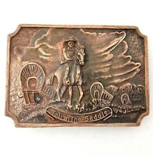 Belt Buckle Tall in the Saddle Copper Western Horse Cowboy