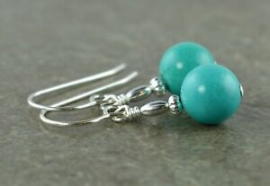 Blue / Green Real Turquoise Gemstone & Sterling Silver Drop Earrings + Gift Box