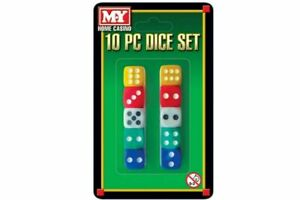 DICE 10 PIECE SET HOME CASINO FIVE DIFFERENT COLOURS ADULTS CHILDREN BOARD GAMES
