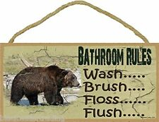 """Bathroom Rules Wash Brush Floss Flush Grizzly BEAR 5"""" x 10"""" SIGN Plaque Lodge"""