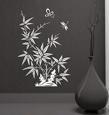 Wall Decal Reed Butterfly Dragonfly Beautiful Oriental Vinyl Stickers (ig2839)