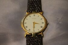 Gucci 18K Gold Plated Watch 3400M  White Face Brown Band Genuine Mens/Womens