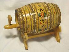 Vintage BULGARIAN WINES Keg wood barrel TRAKIA VINIMPEX folk pyrography
