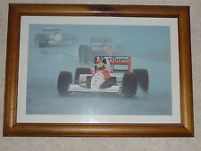 "Ayrton Senna "" In The Rain "" Ray Goldsborough Print ( Framed )"